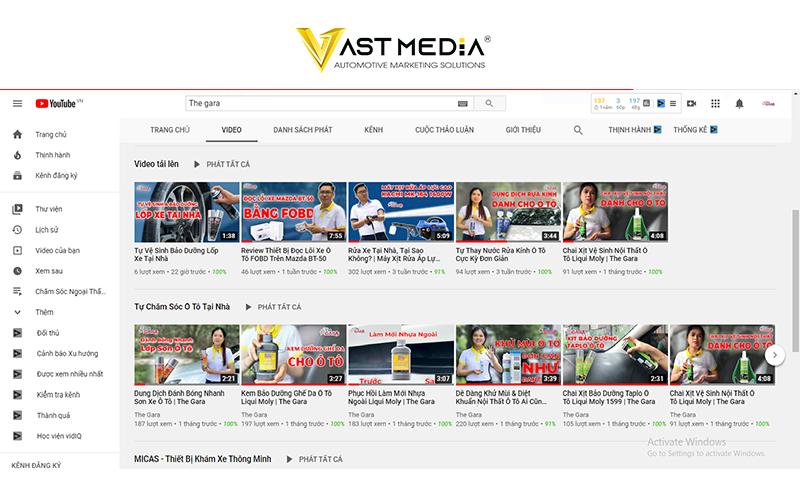 Vast Media xây dựng kênh youtube cho the gara