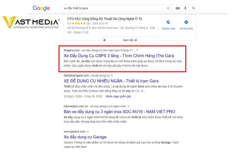 Vast Media viết bài seo từ khóa sản phẩm của The Gara lên top google